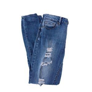 Bullhead Distressed High Rise Skinny Jeans, Size 5